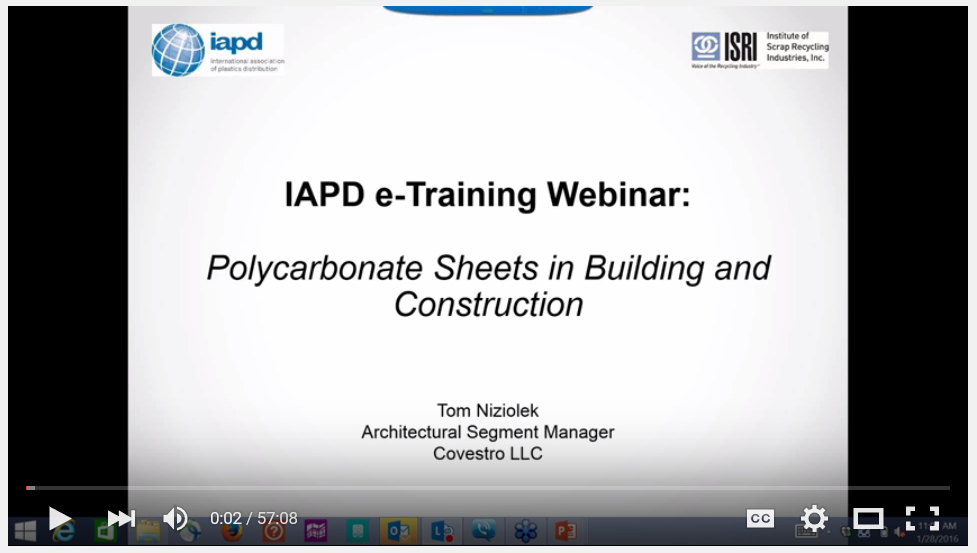 IAPD Webinar: Polycarbonate Sheets in Building/Construction