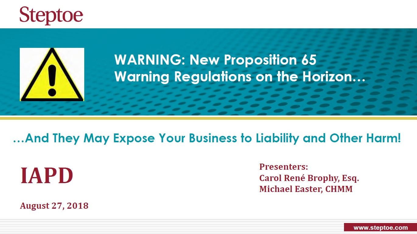Webinar: Prop 65 and the Performance Plastics Industry